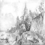 Taras Hryhorovych Shevchenko (1814 - 1861)   Vidubets monastery  Pencil on paper, 1843  17,6 &#215; 26,1 cm  State Shevchenko Museum, Kyiv, Ukraine